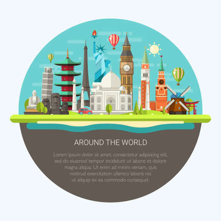 Illustration  of vector flat design postcard with famous world landmarks icons Çizim