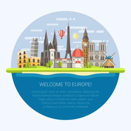 ヨーロッパの有名な世界のランドマーク アイコンをフラットなデザイン構成のベクトル イラスト