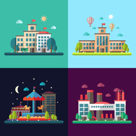 cartoon circus: Set of modern vector flat design conceptual city illustrations