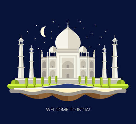 mahal: Vector illustration of flat design travel indian composition with Taj Mahal in India