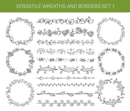 wreath collection: Illustration of vector hand drawn vintage floral retro elements Illustration