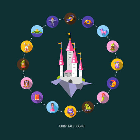 sword and heart: Illustration of set of fairy tales flat design magic vector icons and elements Illustration