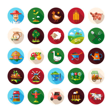 Illustration of set of farm and agriculture flat design vector icons and elements