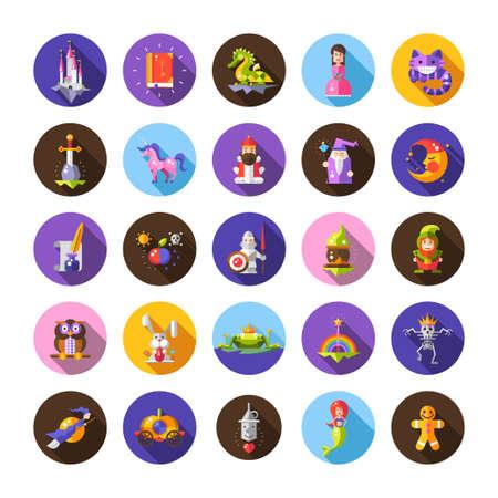 妖精物語フラット デザイン魔法ベクトル アイコンおよび要素の集合の図