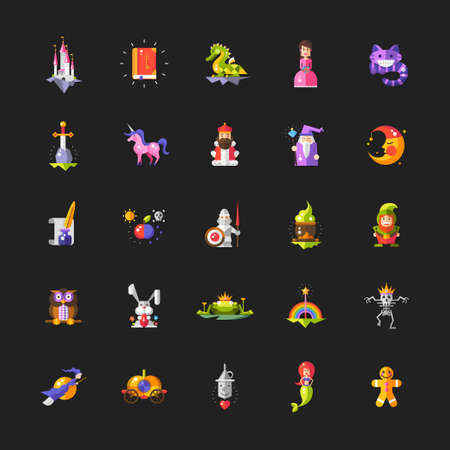 Illustration of set of fairy tales flat design magic vector icons and elements Vettoriali