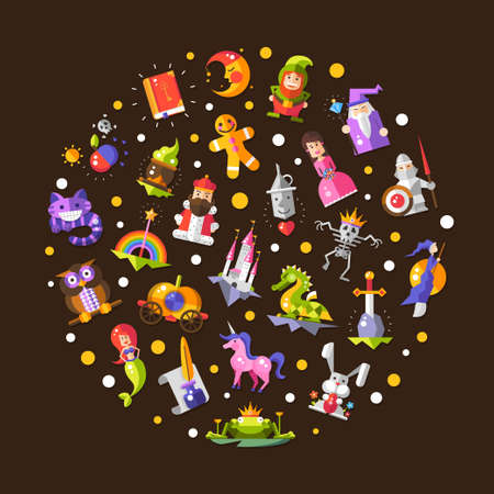 Illustration of vector fairy tales flat design magic icons and elements composition Vector