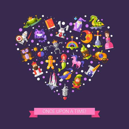 castillos de princesas: Ilustraci�n de cuentos de hadas vector plana iconos de dise�o y elementos m�gicos postal Vectores