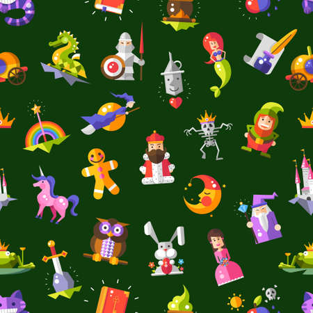 Pattern of vector vector modern flat design fairy tales magic icons and elements