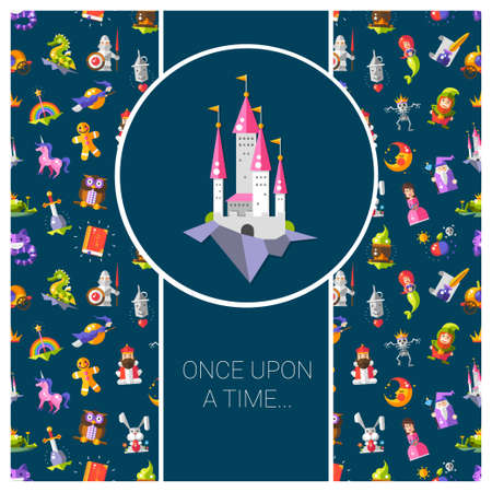 Illustration of postcard with fairy tales flat design magic vector  icons and elements Vector