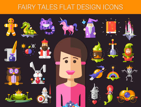 tales: Illustration of set of fairy tales flat design magic vector icons and elements Illustration