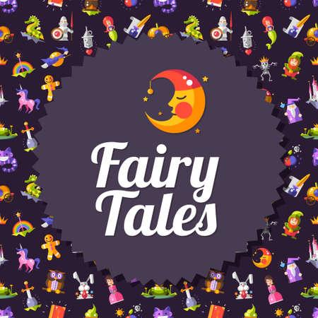 principe: Racconti fairy moderno design piatto e il modello magico volantino Vector