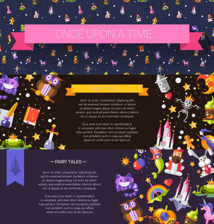 fantasy book: Set of vector modern flat design fairy tales and magic flyer templates