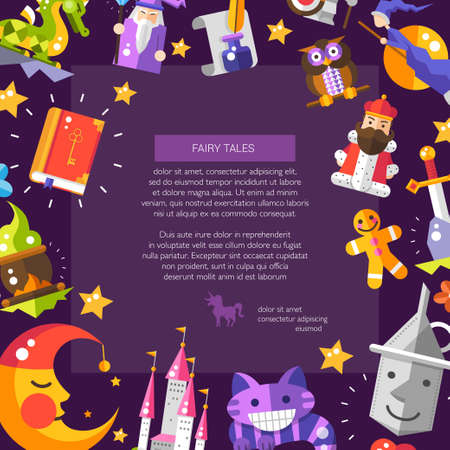 fairy tale princess: Illustration of postcard with fairy tales flat design magic vector  icons and elements
