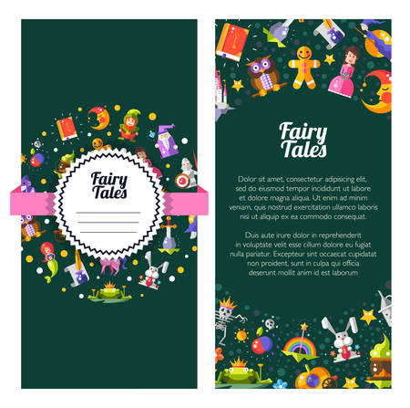 Flyer of template vector modern fairy tales flat design magic icons and elements Vector