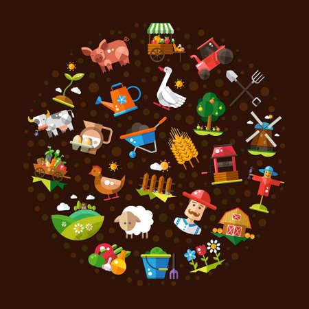 벡터 현대 평면 디자인 농장과 농업 아이콘 및 요소의 원 구성의 그림