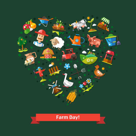 Illustration of heart composition of vector modern flat design  farm and agriculture icons and elements Vector