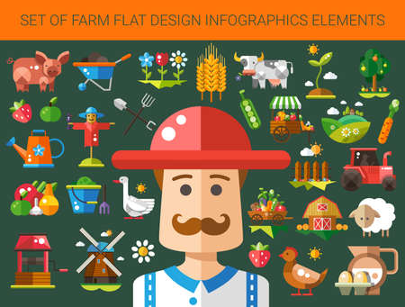 agriculture landscape: Set of vector modern flat design farm and agriculture icons and elements