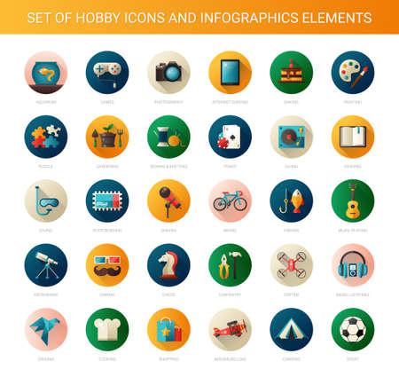 Conjunto de vectores de diseño plana iconos afición modernas y infografías elementos Foto de archivo - 40695365