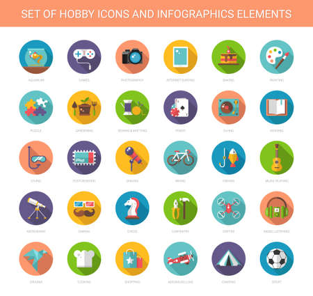 flat brush: Set of vector modern flat design hobby icons and infographics elements