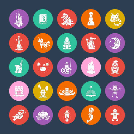 Set of fairy tales flat design magic vector icons and pictograms Vector