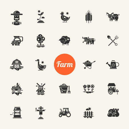 combining: Set of farm and agriculture flat design vector icons and pictograms Illustration