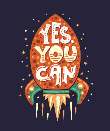 can yes you can: Vector modern flat design hipster illustration with quote phrase Yes, you Can