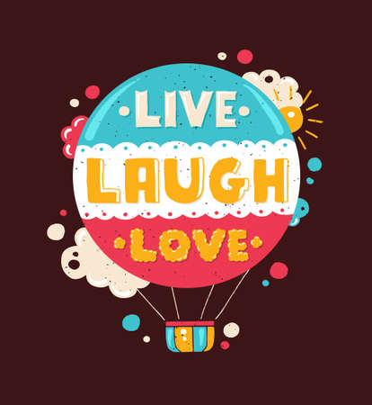 인용 문구 라이브, 웃음, 사랑 벡터 현대 평면 디자인의 힙 스터 그림