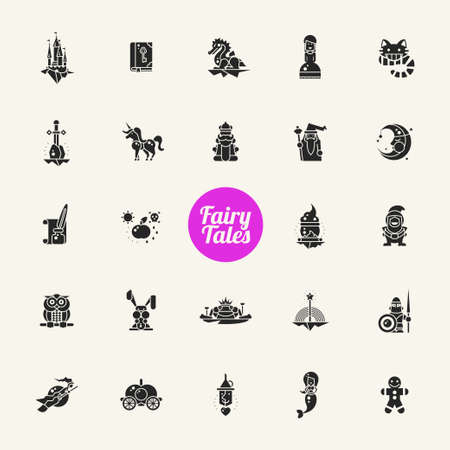 fairy tale princess: Set of fairy tales flat design magic vector icons and pictograms Illustration