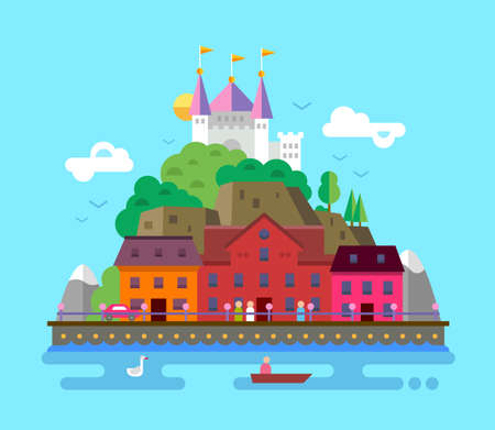 cartoon building: Vector flat design illustration of summer European beautiful landscape with buildings