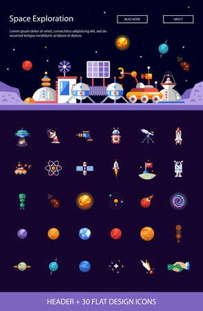 Planet: Cabecera con vector de diseño modernos plana espaciales iconos e infografías elementos establecidos para su sitio web la ilustración Vectores