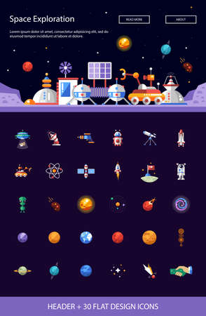 space travel: Header with vector modern flat design space icons and infographics elements set for your website illustration Illustration
