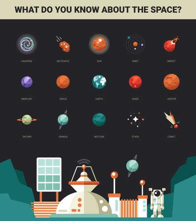Affiche avec le vecteur modernes spatiaux icônes et des infographies éléments de design plat fixés pour votre site web illustration Banque d'images - 40695437