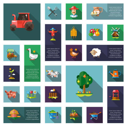 Set of vector modern flat design farm and agriculture icons and elements Vector