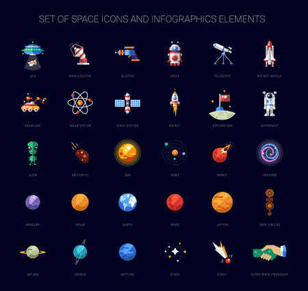 alien planet: Set of vector space icons and infographics elements