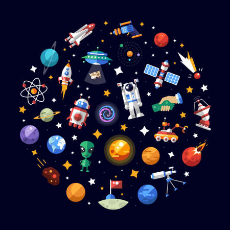 Circle vector flat design composition of space icons and infographics elements Çizim