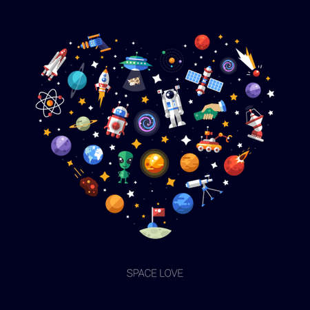 Heart vector flat design composition of space icons and infographics elements Çizim