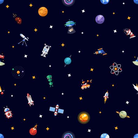 공간 아이콘과 infographics입니다 요소의 벡터 패턴