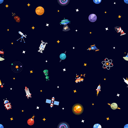 Vector pattern of space icons and infographics elements
