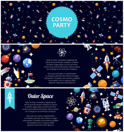 Set of vector flat design flyers of space icons and infographics elements