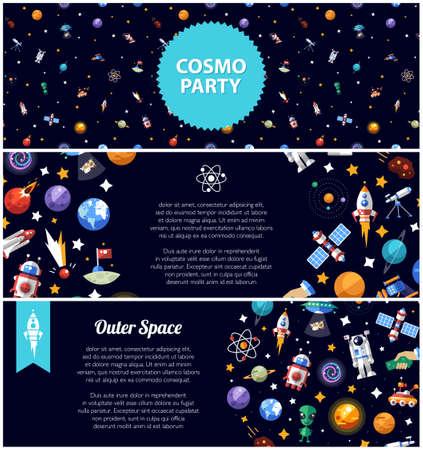 antena parabolica: Conjunto de plano vector de diseño de folletos de iconos espaciales y infografías elementos