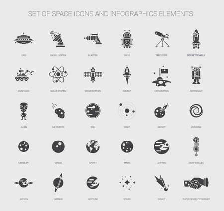 Set of vector space icons, pictograms and infographics elements