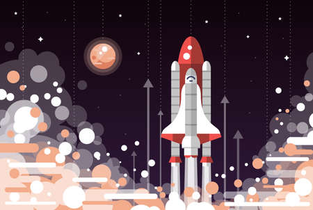 Modern vectorflat design illustration of space shuttle launch Stock Illustratie