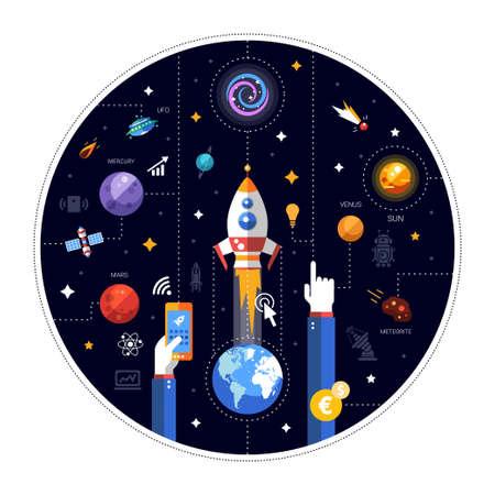 地球、スペース アイコン インフォ グラフィック要素とロケット発射のベクトル フラット デザイン イラスト