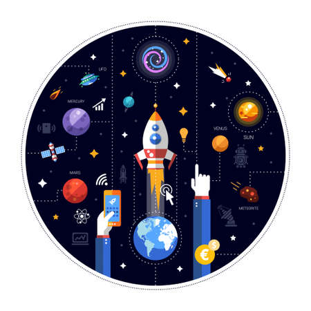 raum: Vector flaches Design Illustration der Raketenstart mit der Erde, Raum Ikonen und Infografiken Elemente Illustration