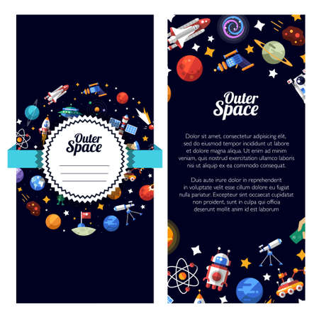 space: Vector flat design illustration of space icons and infographics elements