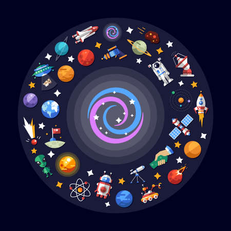 Vector flat design illustration of space icons and infographics elements