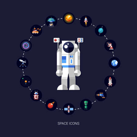 Set of vector space icons and infographics elements Vector
