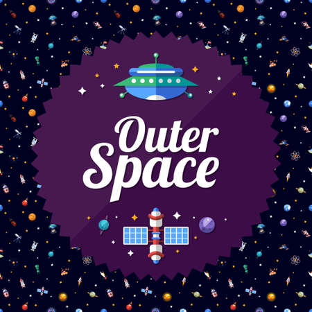 Vector flat design flyer of space icons and infographics elements