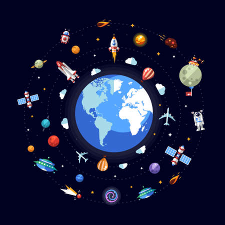 Vector flat design illustration of Earth with space icons and infographics elements