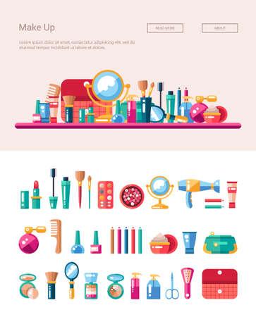 cosmeticos: Conjunto de cosméticos diseño plano, compone iconos y elementos con encabezado ilustración de la bandera